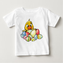 Happy Easter With Baby Chick & Easter Eggs Baby T-Shirt