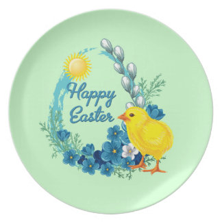 Happy Easter With Baby Chick Party Plate