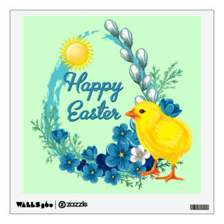 Happy Easter With Baby Chick Wall Sticker