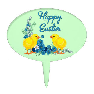 Happy Easter With Baby Chicks Cake Toppers