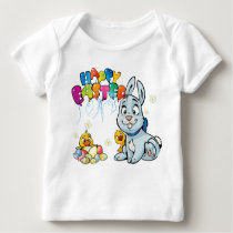 Happy Easter With Baby Chicks & Easter Bunny Baby T-Shirt