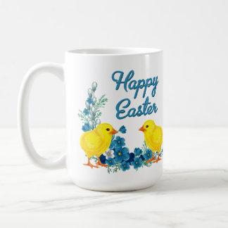 Happy Easter With Baby Chicks Basic White Mug