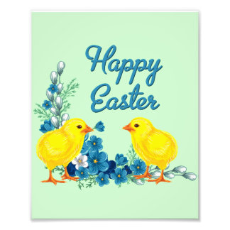 Happy Easter With Baby Chicks Photo