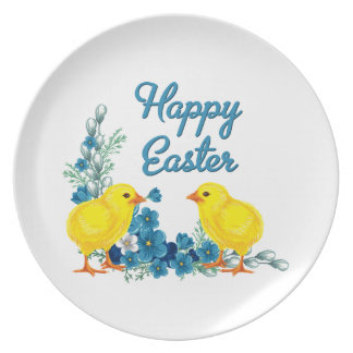 Happy Easter With Baby Chicks Dinner Plates