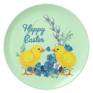 Happy Easter With Baby Chicks Party Plates