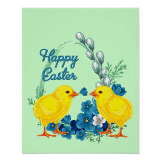 Happy Easter With Baby Chicks Poster