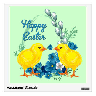 Happy Easter With Baby Chicks Wall Sticker