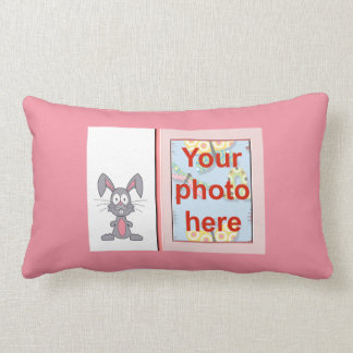 Happy Easter with bunny add name add photo Lumbar Pillow