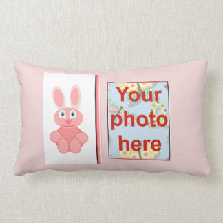 Happy Easter with bunny add name add photo Pillow