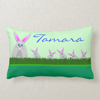 Happy Easter with bunny add name Throw Pillows