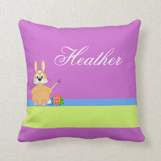 Happy Easter with bunny add name Throw Pillow