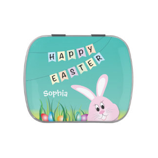 Happy Easter with Bunny & Eggs Personalized Jelly Belly Candy Tin