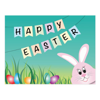 Happy Easter with Bunny & Eggs Post Card