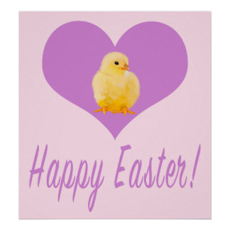 Happy Easter with Chick in a Heart Poster