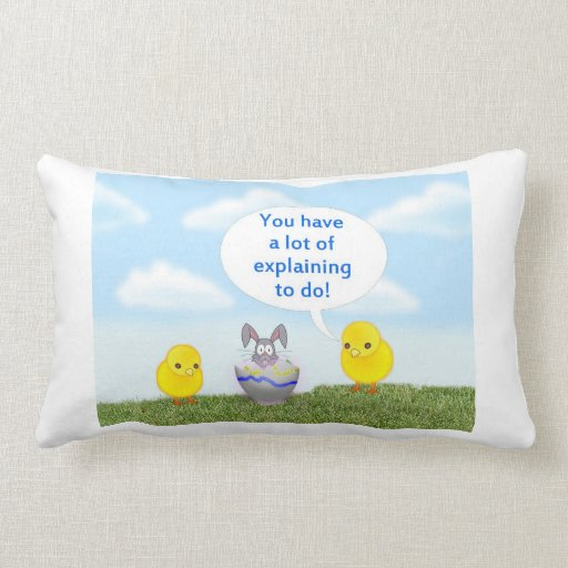 Happy Easter with chicks and bunny humor funny Throw Pillows
