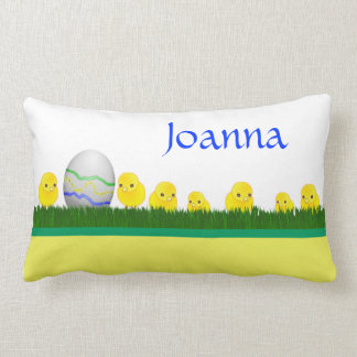 Happy Easter with chicks and egg Throw Pillow