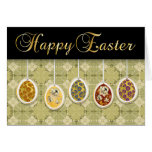 Happy Easter With Colored Eggs - 1 Greeting Card