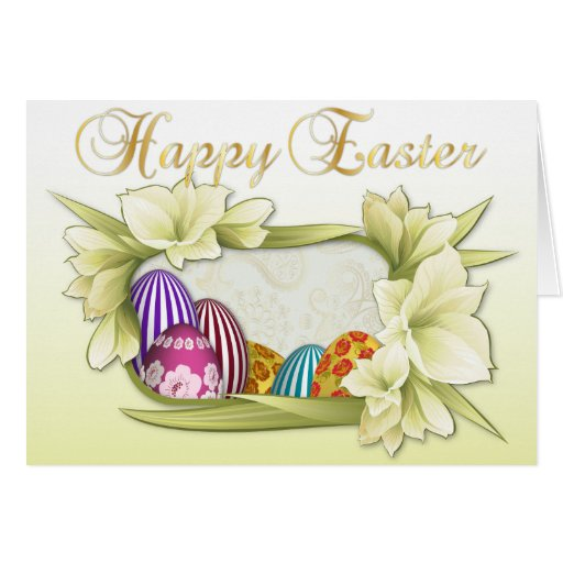 Happy Easter With Colored Eggs - 2 Greeting Card