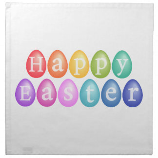 Happy Easter with colorful Easter eggs Printed Napkin