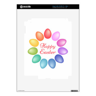 Happy Easter with colorful egg flower iPad 2 Skin