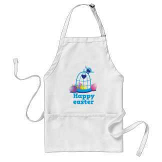 Happy easter with cute little bird and cage eggs apron