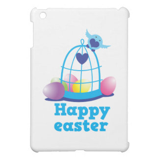 Happy easter with cute little bird and cage eggs cover for the iPad mini
