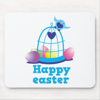 Happy easter with cute little bird and cage eggs mouse pad