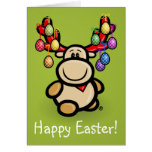 """""""Happy Easter"""" with cute moose Elmondo Stationery Note Card"""
