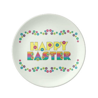 Happy Easter with Daisy Flowers Porcelain Plates