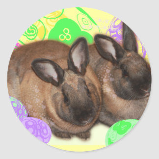 Happy Easter with Easter Bunnies & Easter Eggs Classic Round Sticker