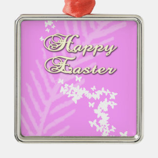 Happy Easter with Easter Butterflies Metal Ornament