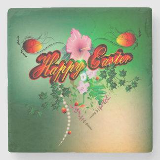 Happy easter with easter eggs, flowers stone coaster