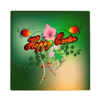 Happy easter with easter eggs, flowers maple wood coaster