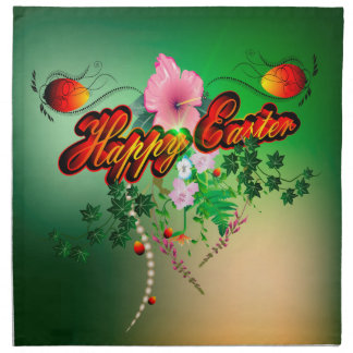 Happy easter with easter eggs, flowers napkins