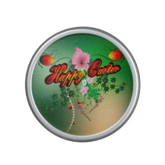 Happy easter with easter eggs, flowers speaker