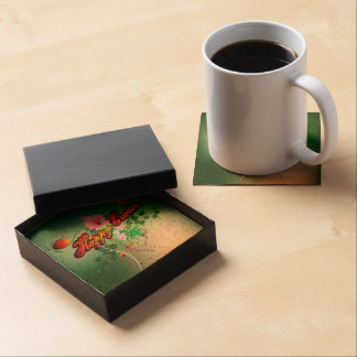 Happy easter with easter eggs, flowers drink coaster