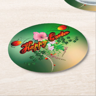 Happy easter with easter eggs, flowers round paper coaster