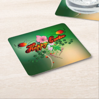 Happy easter with easter eggs, flowers square paper coaster