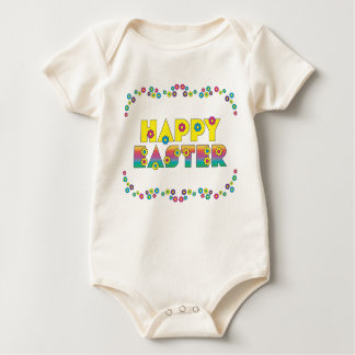Happy Easter with Flowers Baby Bodysuit