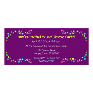 Happy Easter with Flowers Personalized Invite