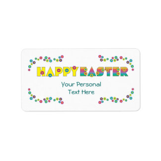 Happy Easter with Flowers Address Label