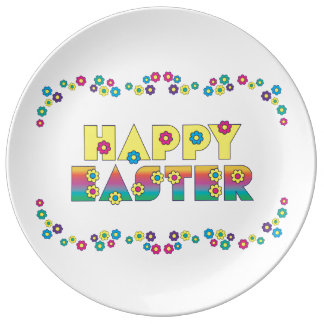 Happy Easter with Flowers Porcelain Plates