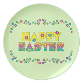Happy Easter with Flowers Party Plates