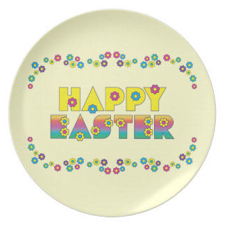 Happy Easter with Flowers Plate