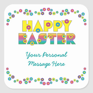 Happy Easter with Flowers Square Stickers