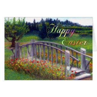 Happy Easter with Footbridge Flowers and Haiku Greeting Card