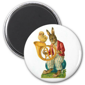 Happy Easter With French Horn Vintage Magnet