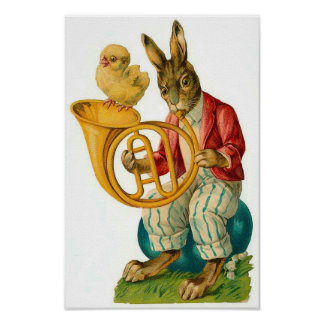 Happy Easter With French Horn Vintage Poster