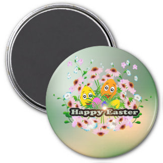 Happy easter with funny easter eggs 3 inch round magnet