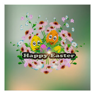 Happy easter with funny easter eggs poster